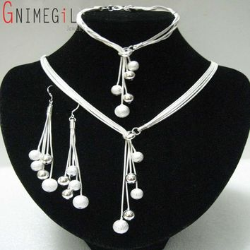 GNIMEGIL Big Sale Women's Jewelry Polished Finished Bracelets Necklaces Drop Earrings Silver Plated Beads African Jewelry Sets