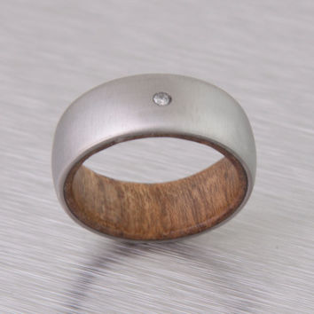 Mens Wood Wedding Band with titanium ring Diamond ring for men or woman