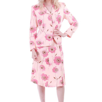 90s Vintage Moschino Cheap and Chic Pink Poppy Print Dress Suit Jacket and Skirt Office Boho Chic Clothing Womens Size Medium Large