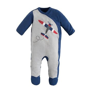 Organic Cotton Side Snap Footie - Airplane