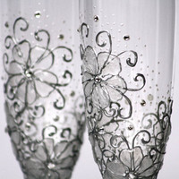 MADE to ORDER Swarovski Crystal Gel Flowers Wedding Champagne Flutes Hand Painted Set of 2
