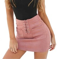 Above Knee Skirts Spring Autumn Sexy High Waist Tight Faux Suede Women Pencil Skirt Lace up Pocket Mini Skirts