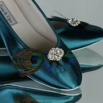 Womens Satin Ballet Bridal Flats Slippers Peacock Teal Shoes...Your choice Of Rhinestone Bling...Flats...Available in Over 100 Colors