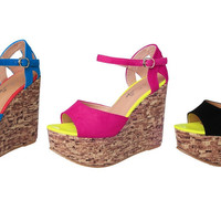 Womens Stylish Open Toe Ankle Strap Wedge Platforms