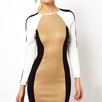 Full Sleeves Round Neckline Color Block Bodycon Dress