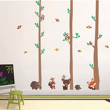 woodland animals Wall Decals deer wall decals trees wall decals owls wall decals Woodland wall decals for Nursery kids kcik1767
