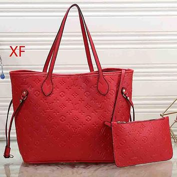 Louis Vuitton LV Women Fashion Leather Tote Crossbody Shoulder Bag Red