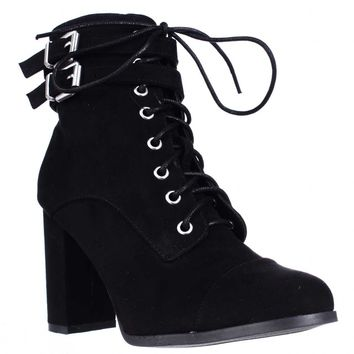 madden girl Klaim Lace Up Combat Ankle Boots, Black, 9.5 US