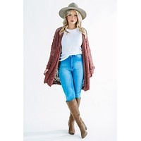 Top Of The List Cardigan: Red Bean