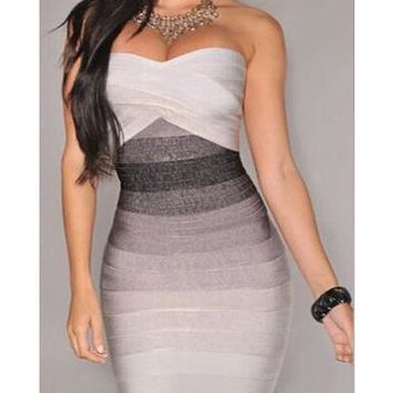 Women's Strapless Bodycon Sheath Dress in Pastel Colors