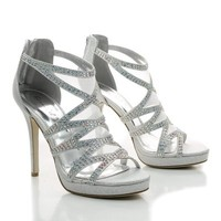 Bling2 Rhinestone Strappy Mesh Insert Stiletto Dress Heels