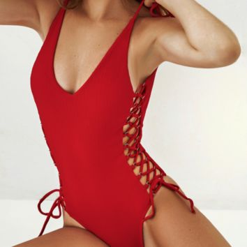 New solid color one-piece swimsuit strap bikini female one-piece swimsuit sexy bikini