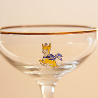 Vintage Babycham champagne coupes, antique fawn glasses, vintage deer champagne glasses, 1950 Babycham deer decor, Christmas cocktail glass