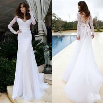 2015 Sexy V Neck Beach Bridal Gown 2015 White/Ivory Lace Mermaid Wedding Dress
