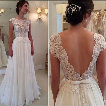 Deep V-Cut Lace Chiffon Wedding Dress Boho Wedding Dress