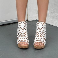 Morning Sun White Sandal Wedges