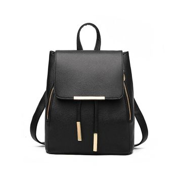 New Designer Women Backpack For Teens Girls Preppy Style School Bag PU Leather Backpack Ladies High Quality Black Rucksack