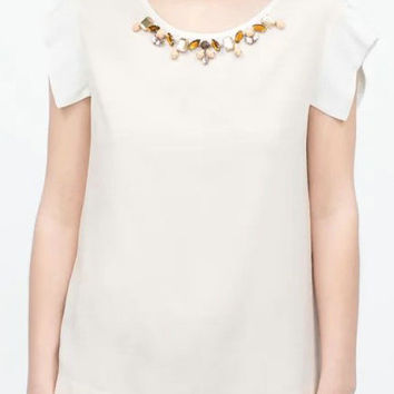 Casual Beaded Collar Chiffon Blouse