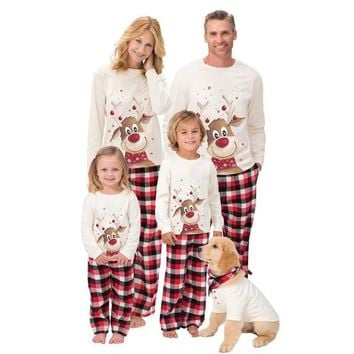Family Matching Cartoon Deer Christmas Pajama Set
