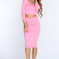 Blush Pencil Skirt Crop Top Sexy Party Outfit
