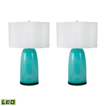 270B/S2-LED Blown Glass LED Table Lamp In Aqua