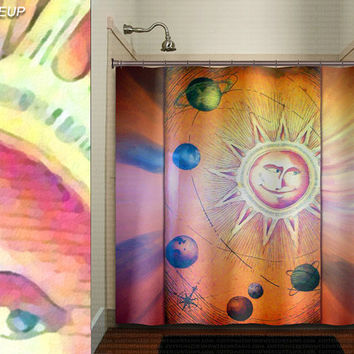 whimsical sun planets space solar system shower curtain kids bathroom decor bath fabric window curtains panel bathmat rug towel extra long
