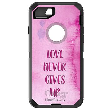 DistinctInk™ OtterBox Defender Series Case for Apple iPhone or Samsung Galaxy - 1 Corinthians 13 - Love Never Gives Up