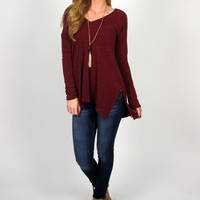 Auburn Long Sleeved Sweater Tunic: Burgundy