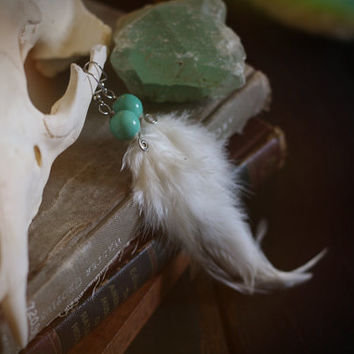 celadon // porcelain & feather earrings