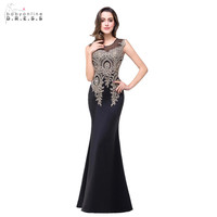 2017 Mermaid Long Black Prom Dresses Appliques Sheer Neck Floor Length Formal Prom Party Evening Gown Robe De Soiree