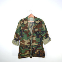 Vintage Army Camo Green Jacket / Coat Boho Style Grunge Look Festival Fun All Sizes