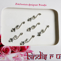 Bridal Bindis in Silver & Crystal Tone .
