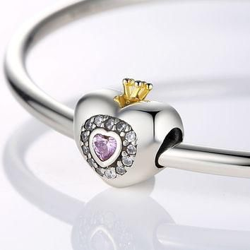 Silver Charm Beads Fit Original Pandora Bracelet Pendants DIY Jewelry Princess Heart W