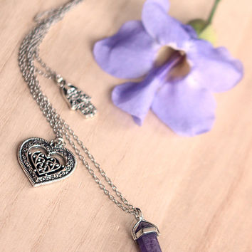 Purple Amethyst Crystal Point Pendant, Silver Hamsa, Heart Charm, Bohemian Necklace for Best Friend