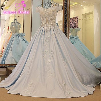Perfect Bridal Sleeveless Wedding Dresses 2017 Vintage Appliques Bow A Line Back Lace Up Court Train Bridal Gowns Real Photo
