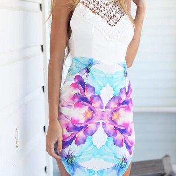 White Floral Lace High Neckline Backless Mini Dress
