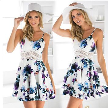 Day-First™ White Floral Print Cut Out Spaghetti Strap Skater Dress