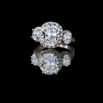 2.5 Ct. Cushion Radiant Center Halo Settings W/side Ovals 635r71683
