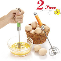 "Chefaith 2-Pcs 12"" Stainless Steel Hand Push Whisk [Self Rotating] [Semi-Automatic] - Premium Quality Kitchen Whisk Set, Bulletproof Coffee, Lattes, Versatile Egg Beater, Milk Frother, Blender, Mixer"