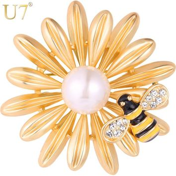U7 Sun Flower Bee Brooches Gold Color Women Costume Jewelry Beautiful Party Gift for Her Rhinestone Insect Brooch Pin 2017 B126