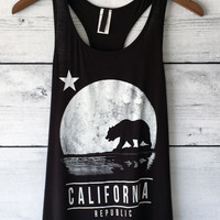 California Republic Full Moon and Bear Tank Top