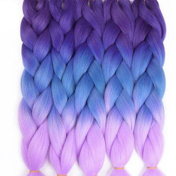 CUPUP9G TOMO Hair 24' Ombre Kanekalon Jumbo Braiding Hair Synthetic Crochet Braid Hair Extensions 100g Bulk Hair