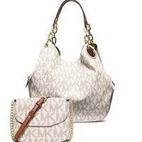 Michael Kors Women's New Fashion Fulton Large Logo Shoulder Bag+Fulton Small Crossbody White