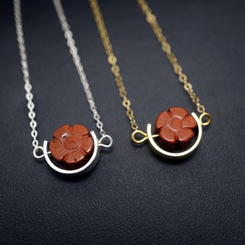 Tiny Gold Cherry Blossom Jasper Necklace, Red Jasper Choker - Sterling Silver Cresent Moon Pendant 14k Gold Globe Blood Stone  Necklace