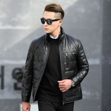 Men's Leather Down Jackets Business Stand Collar 90% White Duck Down Padded Coats Men Winter Casual Down Parkas Outerwear JK-675