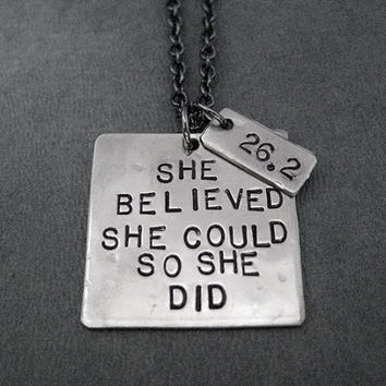 SHE BELIEVED She Could So She Did with DISTANCE Necklace - Hand Hammered Nickel Silver Pendants on Gunmetal Chain - Runner Jewelry - Running
