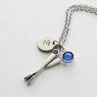 Oars Initial Necklace 3D Charm Oar Canoe Boat Row Rowing Crew Gift Jewelry Swarovski Birthstone Silver Personalized Monogram Hand Stamped