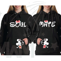 LGBT Lesbian Matching Couple Shirts, Soulmate Super Cute Minnie Mouse Kiss, Polka Dots Bow, Disney Family Shirts, Married With Mickey, 068