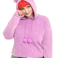 Faded Fuchsia Cat Ear Girls Crop Hoodie Plus Size