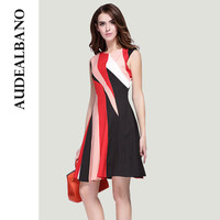 AUDEALBANO  New Arrival High-end Striped Print Sleeveless Women Dress Fashion O-Neck Knee-Length Elegant Dresses